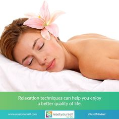 #Relaxation isn't just about #peace of mind or enjoying a hobby. Relaxation is a process that decreases the effects of #stress on your #mind and #body. #Relaxationtechniques can help you cope with everyday stress and with stress related to various #health problems, such as cancer and pain. #ResetMindset #relax #calm #lifestyle