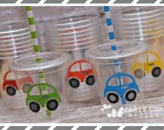 Transportation Birthday Party, Set of 8 or 12 You Choose Party Cups, Favor Cups Birthday Party At Home, Monster Birthday Parties, Birthday Party Decorations, Birthday Ideas, Transportation Birthday, Car Themed Parties, Disney Cars Birthday, Party Cups, Ideas Party