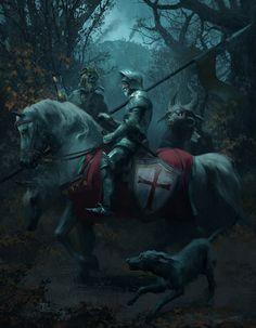 Medieval Knight, Medieval Fantasy, Dark Fantasy, Fantasy Art, Images Terrifiantes, Knight Art, Image Painting, Fantasy Illustration, Fantasy Inspiration