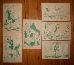VINTAGE GIRL SCOUT POSTCARDS,  GIRL SCOUT CAMP CIRCA 1944