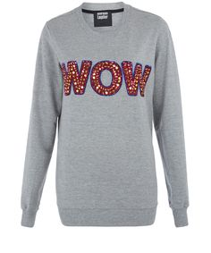 Markus Lupfer Grey Wow Sequin Embellished Sweatshirt | Women's Sweatshirts | too fun!