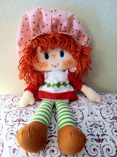 Vintage Strawberry Shortcake Rag Doll on Etsy, $28.00