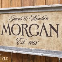 canvas signs for weddings   | Personalized Family Name Sign, Last Name Sign with Established Date ...