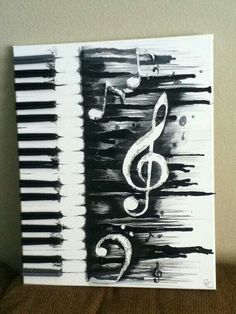 Melted music crayon art