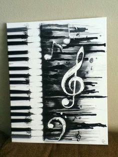 Melted music crayon art