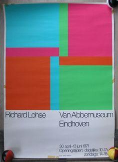 Abbemuseum # RICHARD PAUL LOHSE # poster original silkscreen, 1971, cond. C