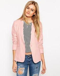 Malani Light Pink Bardot Military Style Blazer ($35) ❤ liked on ...