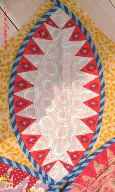 Pickle Dish quilt block with Kaffe Fassett and French fabrics at Linen and Raspberry