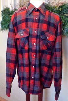 Vintage Cabelas Plaid Wool Work Shirt L Tall Red/Multi Pocket Long Sleeves #Cabelas #ButtonFront