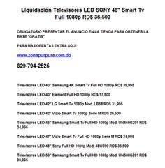 """Liquidación Televisores LED SONY 48"""" Smart Tv Full 1080p RD$ 36,500 - Publicidad"""