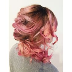 Dusty rose gold hair done using paul mitchell shines 1 3/4oz Pink Champagne + 1/4oz Shiny Penny with an overlay of diluted pink and yellow Ink Works. Pastel pink. Shadow Root. Easy up-do. Rose hair. Pastel hair. Long hair style.