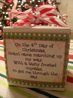 This year our family is doing a 12 Days of Christmas for both Grant and Carson's teachers at school. The plan was to do it 'anonymously'.....