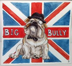 ORIGINAL British Bulldog watercolor Illustration by SparksaFlying
