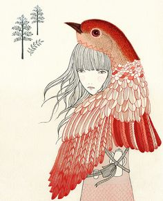 Drawing of girl with red bird. whimsical illustration. nature. indie. Para Cuaderno de Vuelo by missdesidia, via Flickr