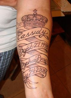 Crown And Memorial Banner Tattoo