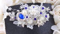 Blue Bridal Hair Comb Wedding Hair Comb Lace by goddessdesignsgems Bridal Comb, Hair Comb Wedding, Blue Bridal, Bridal Hair Accessories, Wedding Hairstyles, Pearls, Lace, Fashion, Moda