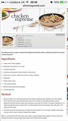 Slimming World Recipes- Chicjen supreme. Syn free meal ideas for cooking and the… Slimming World Recipes- Chicjen supreme. Syn free meal ideas for cooking and the family Slimming World Chicken Supreme, Slimming World Chicken Recipes, Slimming World Recipes Syn Free, Slimming World Tips, Slimming World Dinners, Slimming Eats, Slimming World Puddings, Chicken Supreme Recipe, Kfc