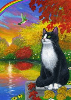 Tuxedo cat hummingbird autumn fall lake landscape limited edition aceo print art #Realism
