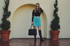 This turquoise suede skirt is everything