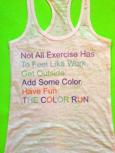 The color Run burnout Tank Top. Color Run Tshirt. by MOZtrendFit, $24.95