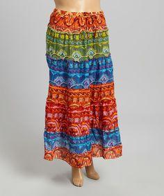 Another great find on #zulily! Red & Blue Batik Maxi Skirt - Plus #zulilyfinds