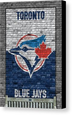 Blue Jays Canvas Print featuring the painting Toronto Blue Jays Brick Wall by Joe Hamilton Easy Canvas Art, Easy Canvas Painting, Wall Canvas, Canvas Prints, Painting Lessons, Art Lessons, Baseball Canvas, Blue Jay Way, Joe Hamilton