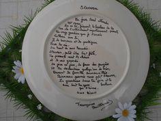 Poème derrière l'assiette, personnalisé pour Steeven..