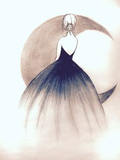 Illustration Moon Art is the way u imagine. No imagination no art. & nothing is better tha. Girl Drawing Sketches, Art Drawings Sketches Simple, Girly Drawings, Pencil Art Drawings, Easy Drawings, Drawing Ideas, Drawing Tips, Girl Sketch, Illustration Art Drawing