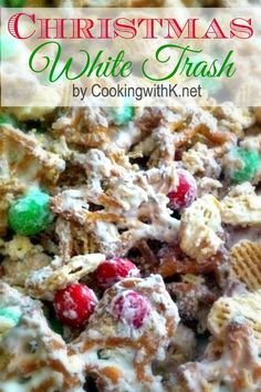 Christmas White Trash Looking for a last minute treat? Christmas White Trash is the perfect treat to make. Calls for few ingredients takes fifteen minutes to make and loo… Christmas Party Food, Christmas Sweets, Christmas Cooking, Holiday Baking, Christmas Desserts, Holiday Treats, Holiday Recipes, Christmas Recipes, Christmas Trash Recipe