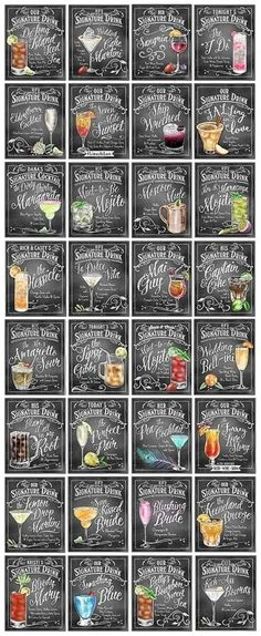 Personalized Signature Drinks signs - Perfect for your wedding cocktail hour… Mojito, Wedding Signs, Diy Wedding, Wedding Parties, Rustic Wedding, Trendy Wedding, Wedding Themed Cocktails, Wedding Signature Cocktails, Wedding Cocktail Hour
