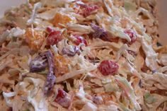 Hawaiian Coleslaw - A taste of the islands. Great as a side dish or as a topper for BBQ pulled pork sandwiches.