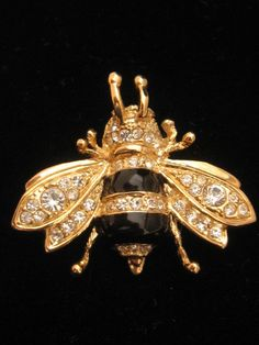 Vintage Rhinestone & Black Enamel Bee Bug Pin Brooch 1970s