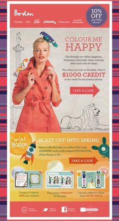 Boden email design. Bold color and strong focal points