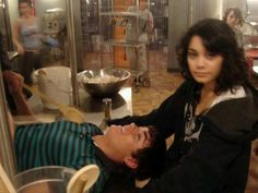 Zanessa..relaxing while filming HSM 2♡