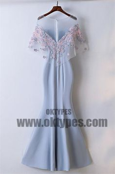 Charming Scoop Neckline Flower Appliques Zipper Up Mermaid Long Prom Dress, Beautiful Prom Dress, TYP0481