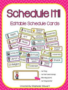 Schedule Cards for Classroom