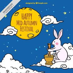 Hand drawn sky background mid-autumn festival Free Vector
