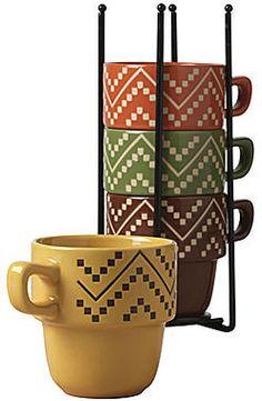 Tabletops Gallery Oscar 5-pc. Stackable Mug Set
