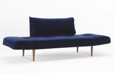 Zeal Blue Velvet Daybed   Dark Wood Legs by Innovation