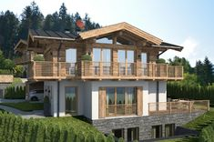 Reith near Kitzbühel - Four Alpine chalets in a class of their own - Streifzug Media Chalet Design, Chalet Style, Alpine Chalet, Roof Trusses, Getaway Cabins, Spa, Pergola Designs, House In The Woods, Bauhaus