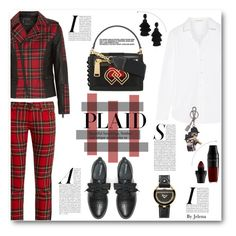 """Check It: Plaid"" by jelenalazarevicpo ❤ liked on Polyvore featuring Karl Lagerfeld, Yves Saint Laurent, Junya Watanabe, Dsquared2, Max&Co., Oscar de la Renta, Salvatore Ferragamo, Dolce&Gabbana and Lancôme"