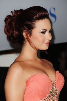 Demi Lovato Dark Auburn Hairstyles 2013
