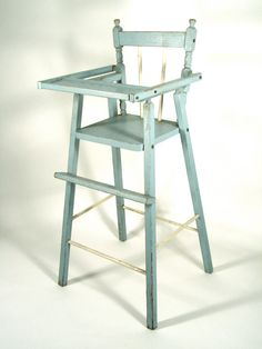 Item Vintage Distressed Wood Doll High Chair In Blue Would Be Great For American…