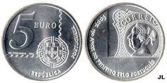 Moedas de Euro emitidas por Portugal: 150 Anos 1º selo Português - Valor 5.00€