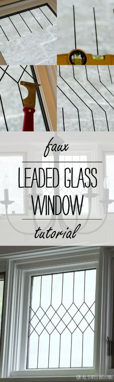 Faux Leaded Glass Window Do to windows in living room so do not have to add curtains (possible on alle br/dog room as well) Painting On Glass Windows, Leaded Glass Windows, Etched Glass Windows, Glass Door, Kitchen Window Shelves, Glass Shelves, Kitchen Cabinets, Dog Room Design, Lead Windows