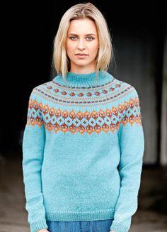 "Ravelry: Nr 13 ""Høstløv"" damegenser pattern by Sandnes Design Crochet Skirts, Knit Crochet, Warm Sweaters, Sweaters For Women, Norwegian Knitting, Knit Art, Sweater Design, Knit Fashion, Ikon"