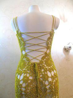 Mustard Prom dress backless Beach wedding Crochet Formal