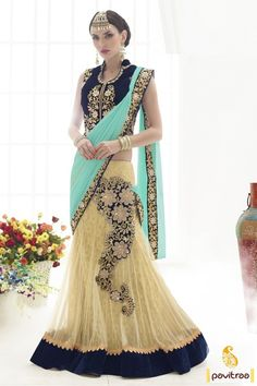 Fashionable #turquoise #cobaltblue net designer saree for new year 2016. This fancy looking heavy embroidery work saree worth to buy for special occasion. Shop now. @ http://www.pavitraa.in/store/lehengha-choli/?utm_source=pk&utm_medium=pinterestpost&utm_campaign=29Dec #partywearsarees, #heavydesignersarees, #latestsarees, #designerclolection, #wholesalesarees, #pavitraafashion