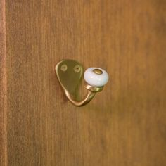 Solid Brass Petite Single Hook with White Porcelain Knob - Hardware