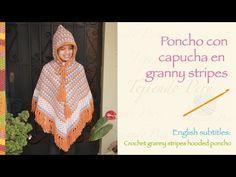 ▶ Crochet granny stripes hooded poncho / Paso a paso a crochet: poncho con capucha en granny stripes - YouTube